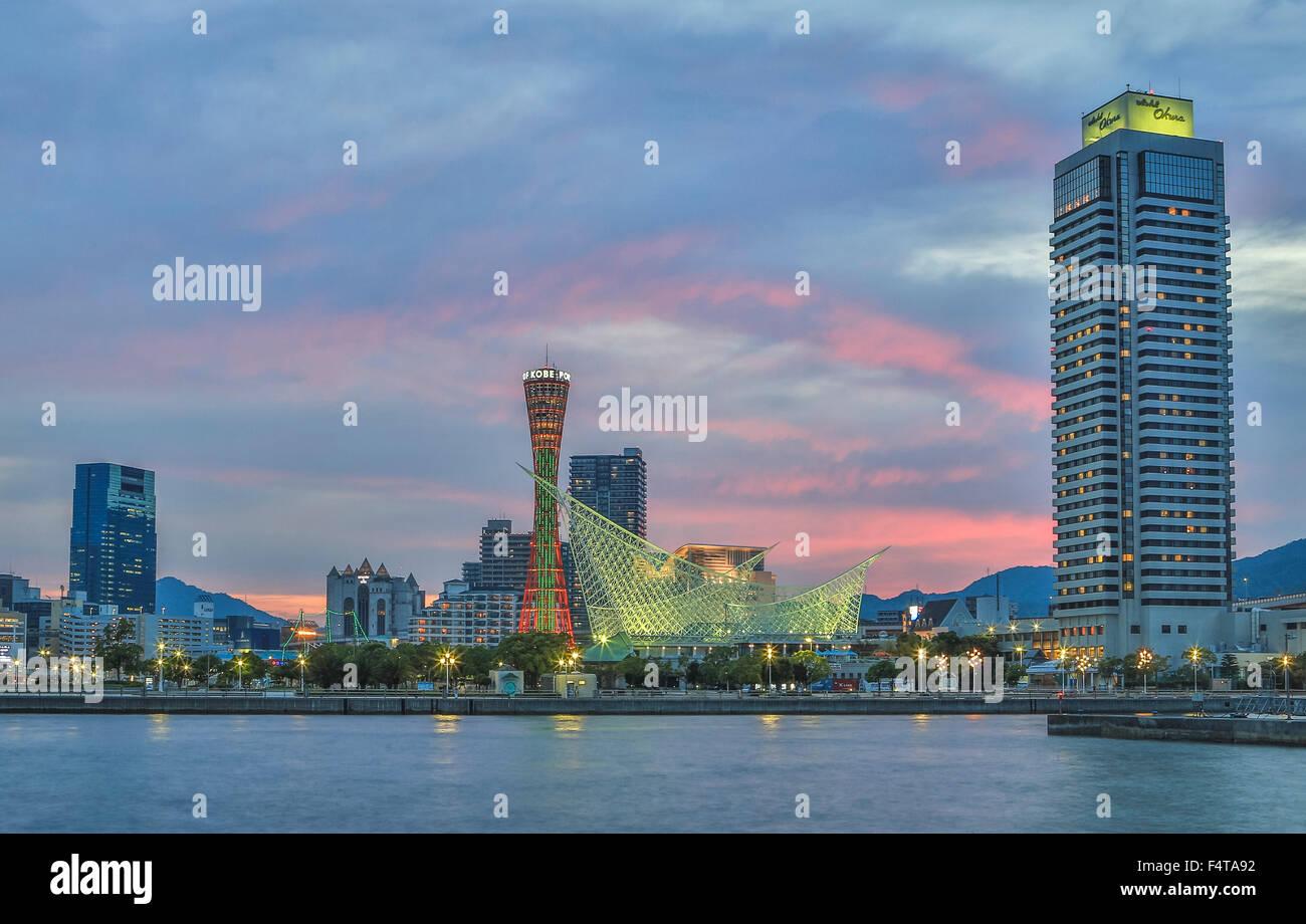 Japan, Kobe City, Kobe Port Skyline, Kobe Tower - Stock Image