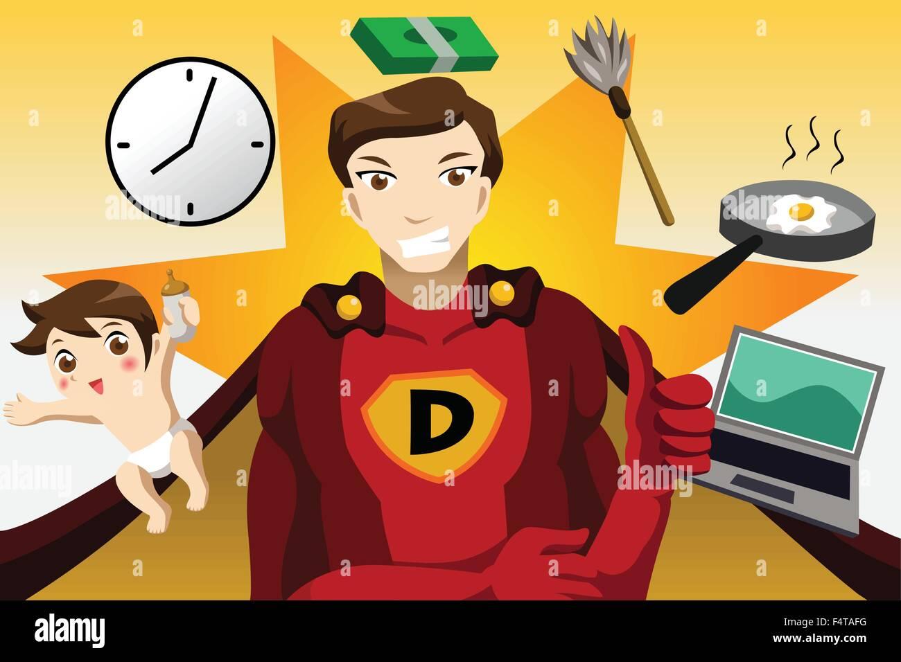 A vector illustration of superhero dad concept