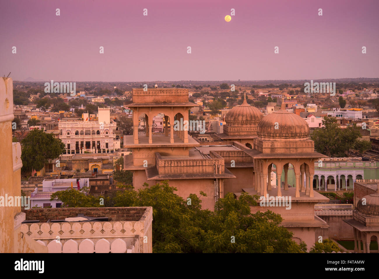 Rajasthan, India, Asia, view from rooftop over Mandava at dusk - Stock Image