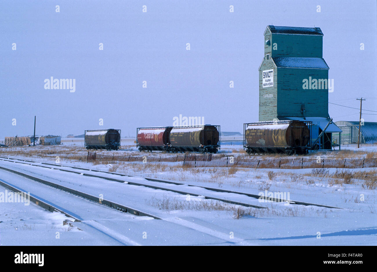 Grain Elevator, Pincher Creek,  Alberta, Canada - Stock Image