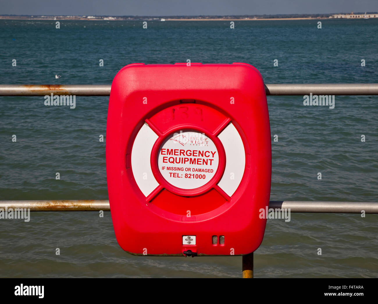 Lifebelt at Colwell Bay, Isle of Wight, Hampshire, England - Stock Image