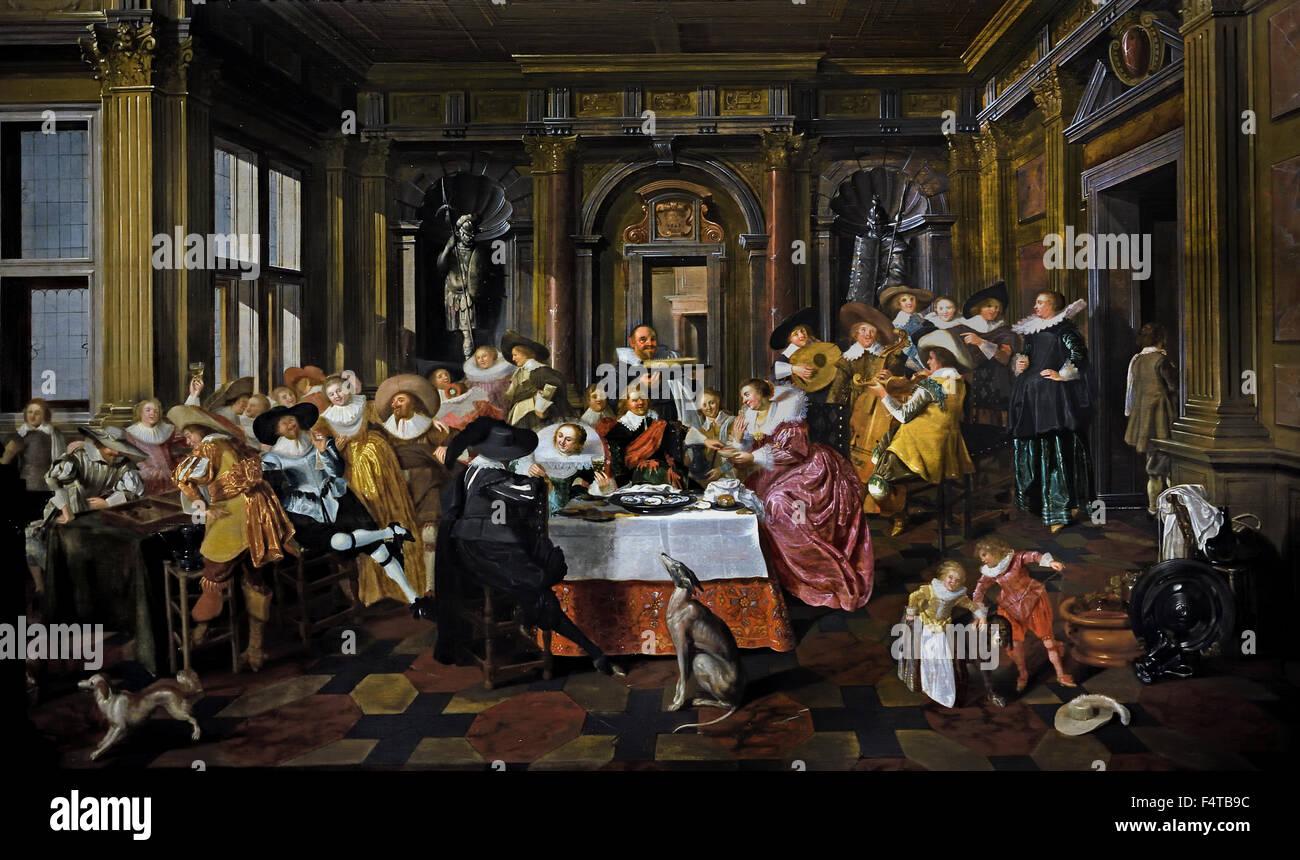 Elegant gezelschap in een Hollandse renaissance zaal - Elegant company in a Dutch Renaissance hall 1628 Dirck van - Stock Image