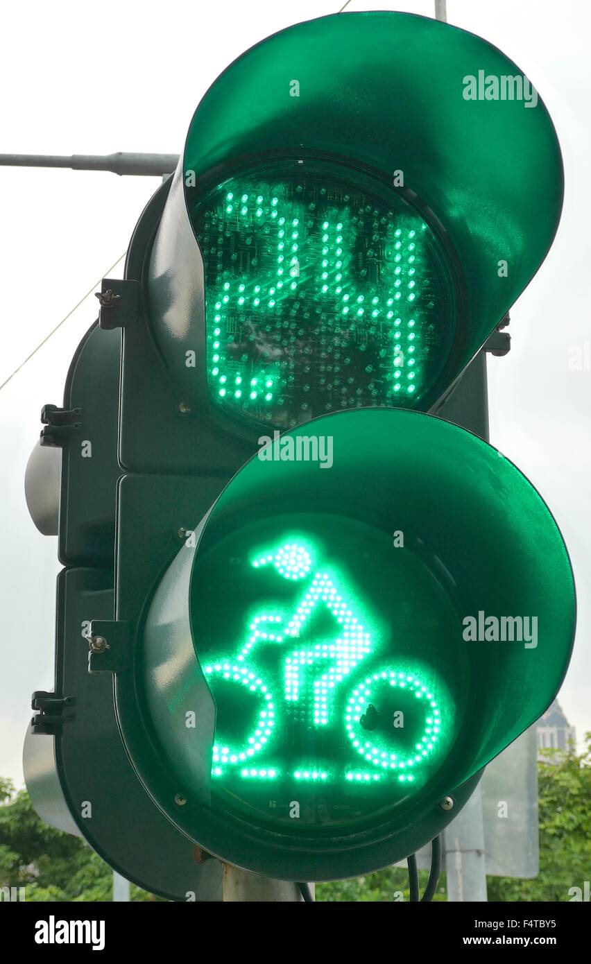 The close view of traffic light at city - Stock Image