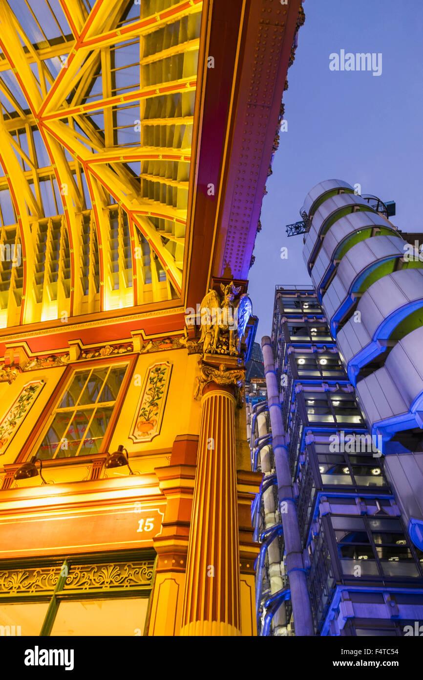 England, London, City, Leadenhall Market and Lloyds Building - Stock Image