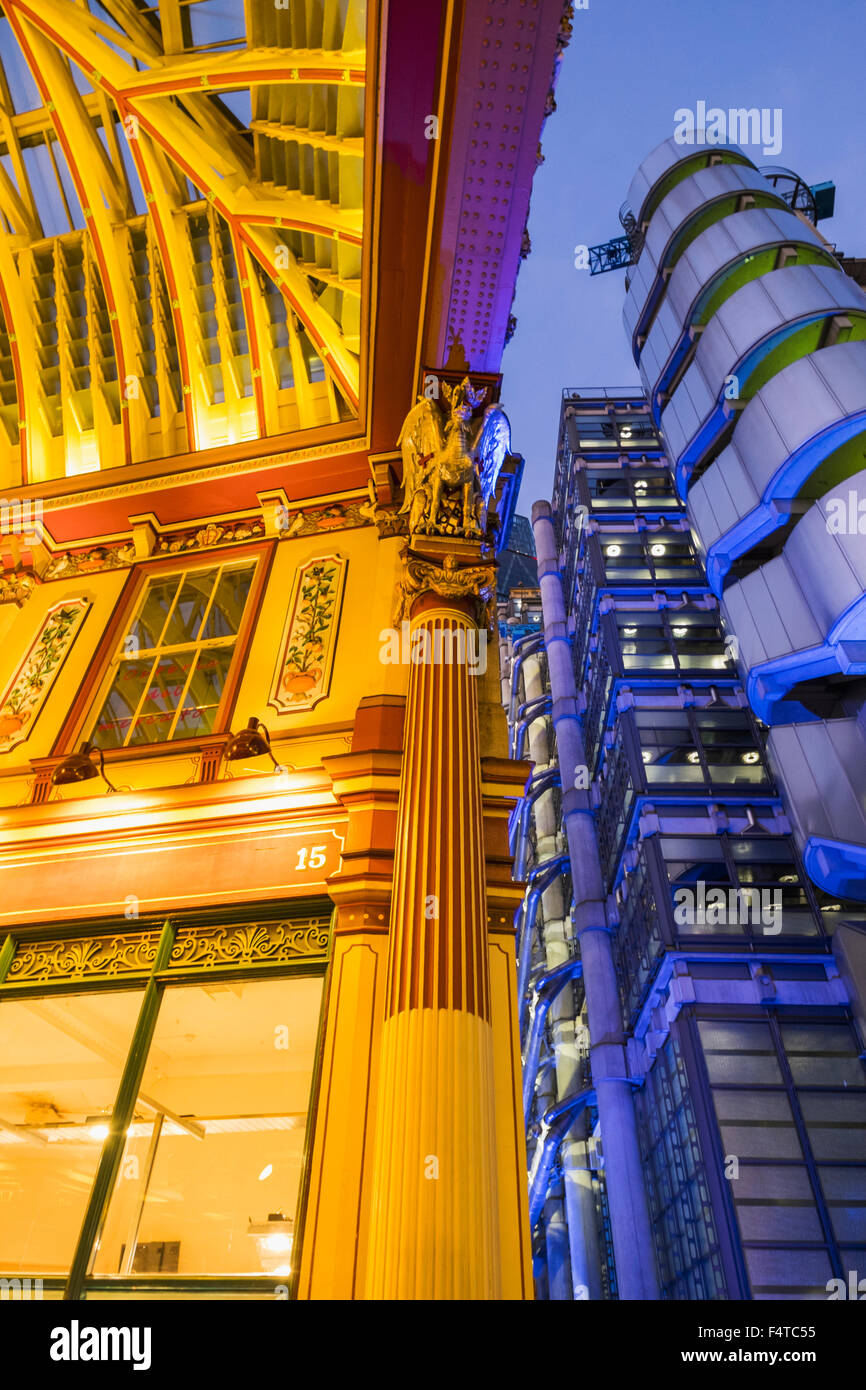 England, London, City, Leadenhall Market and Lloyds Building - Stock Image