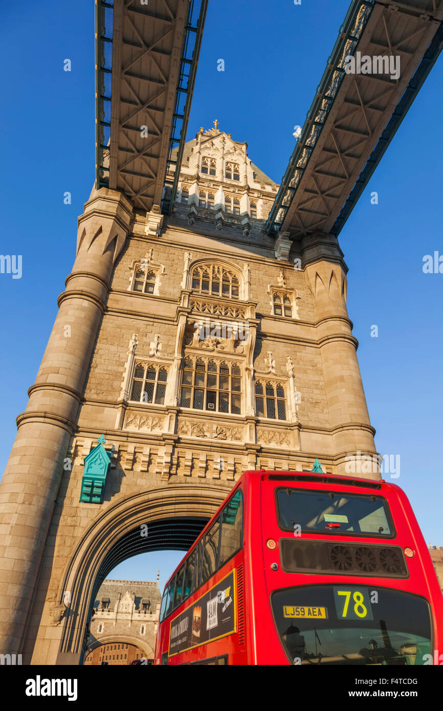 England, London, Tower Bridge and Double Decker Bus - Stock Image