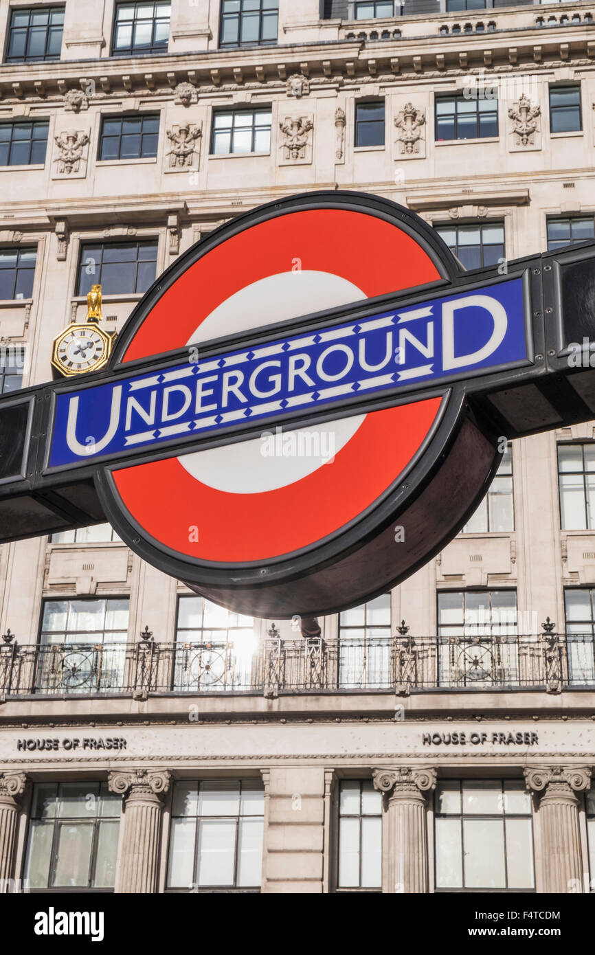 England, London, Underground Sign - Stock Image