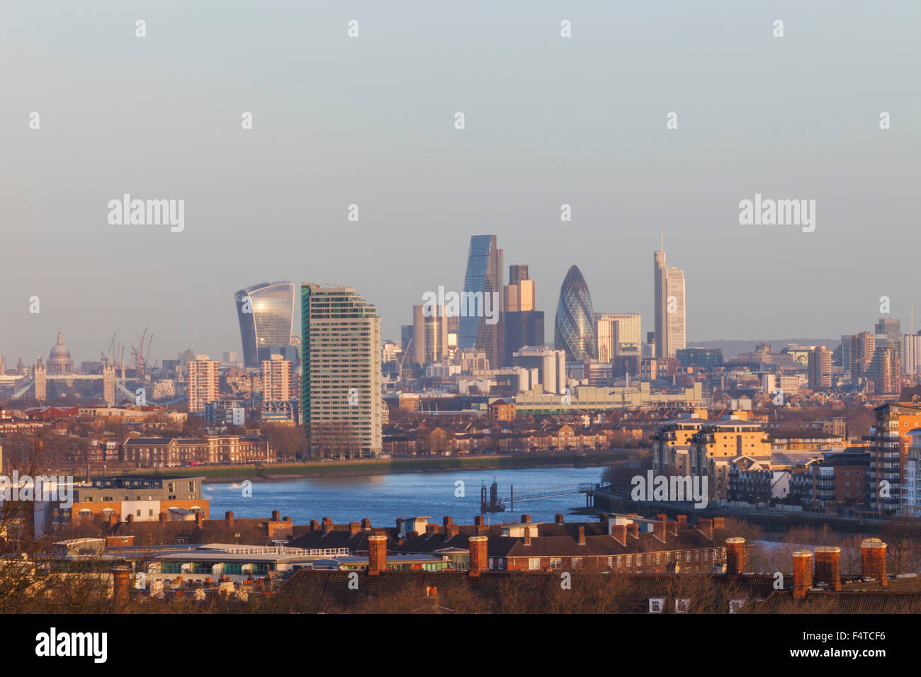 England, London, Greenwich, View of London Skyline from Greenwich - Stock Image