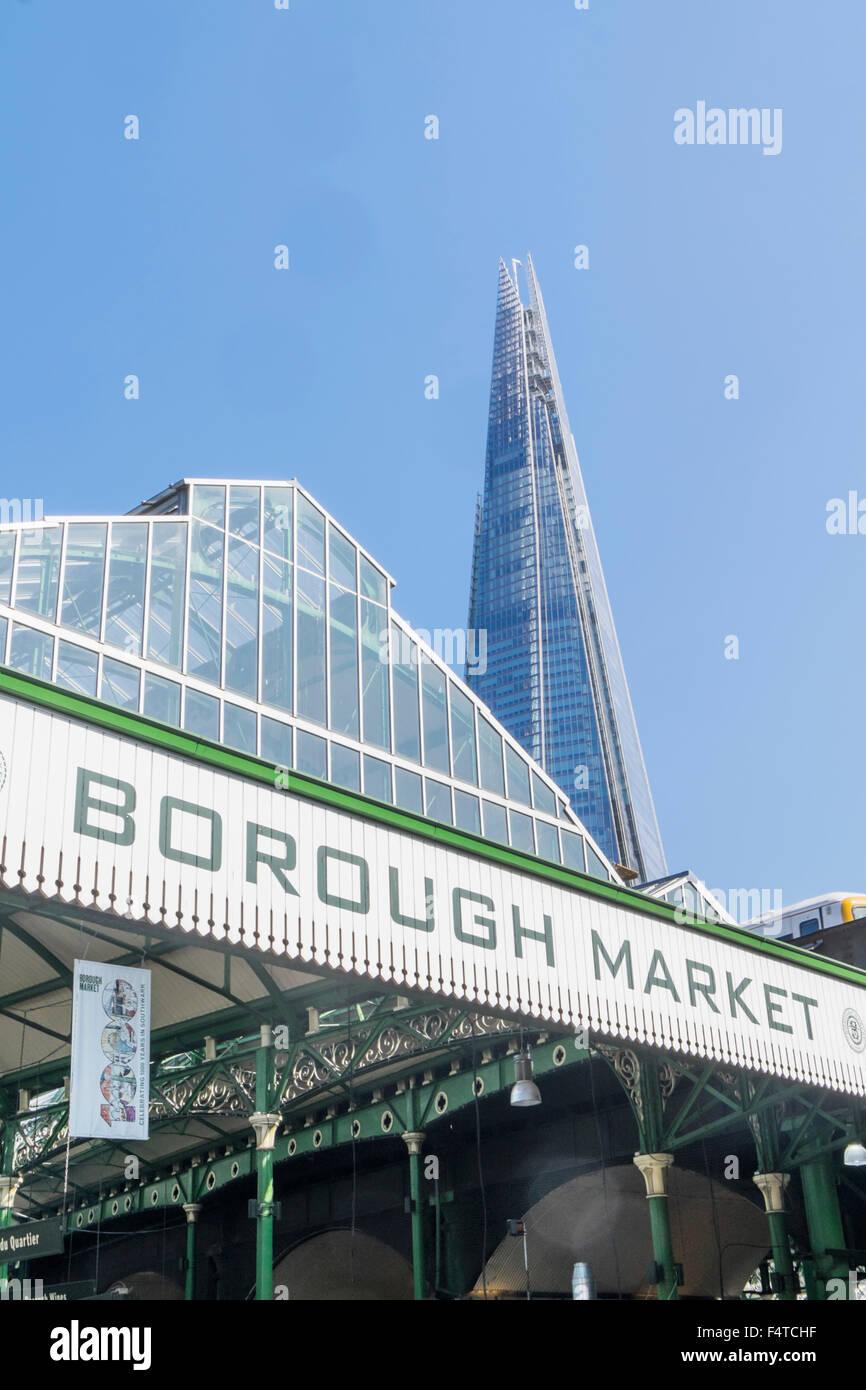 England, London, Southwark, The Shard and Borough Market Sign - Stock Image