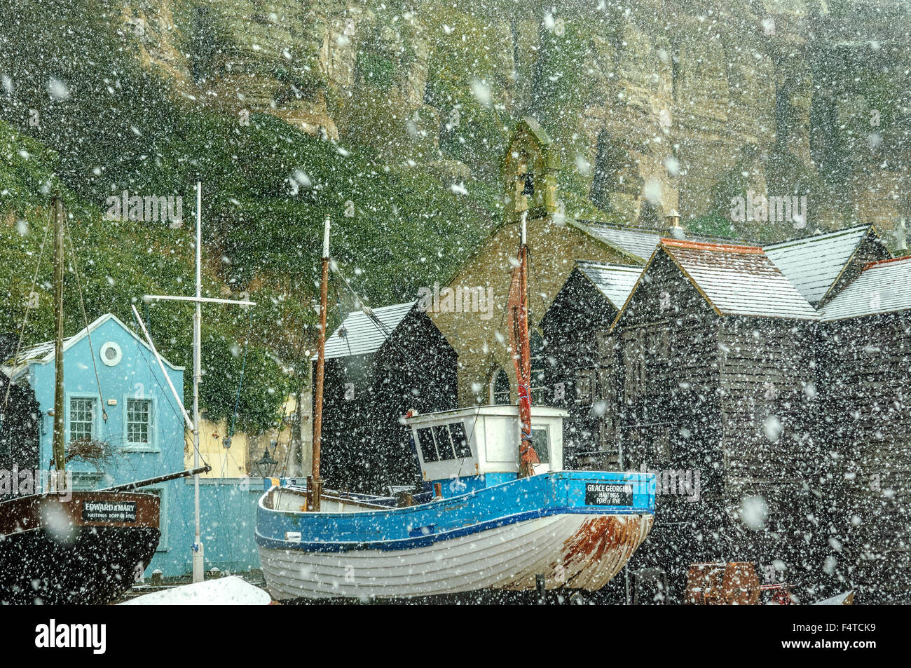 Snowing at Rock-a-Nore. Old town Hastings. England.UK - Stock Image