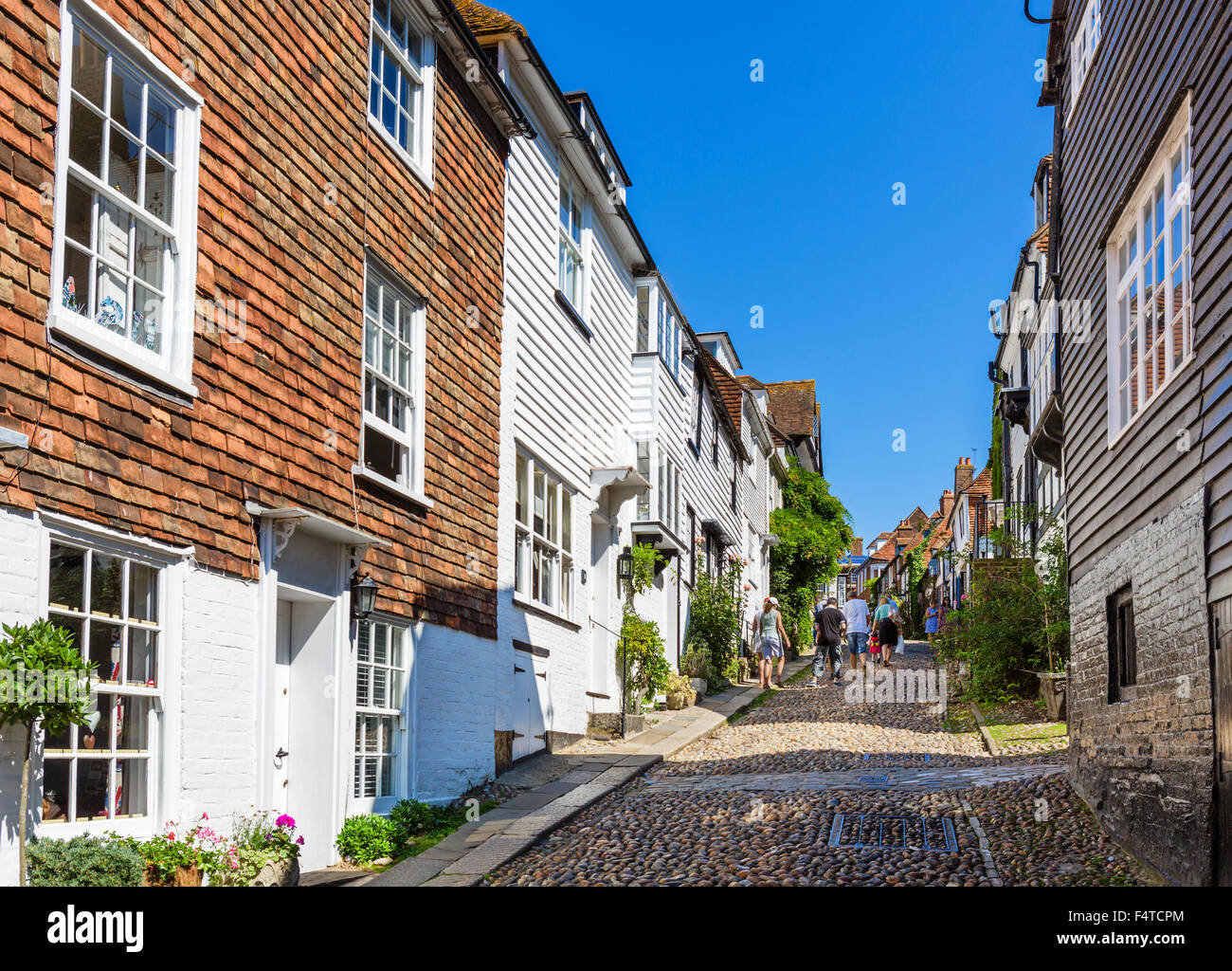 Historic Mermaid Street in the old town, Rye, East Sussex, England, UK - Stock Image