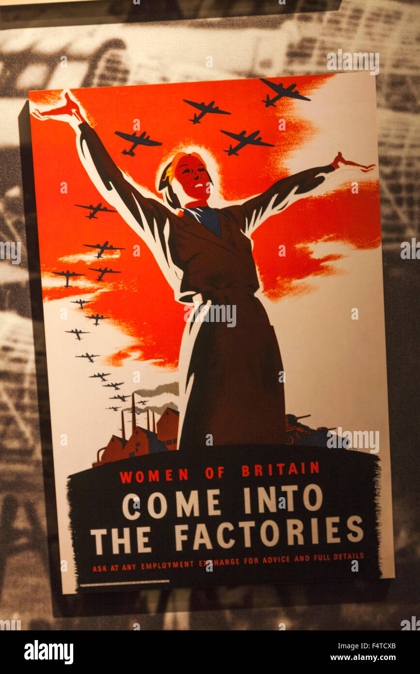England, London, Lambeth, Imperial War Museum, WWII Poster for Recruitment of Women for Factory Work - Stock Image