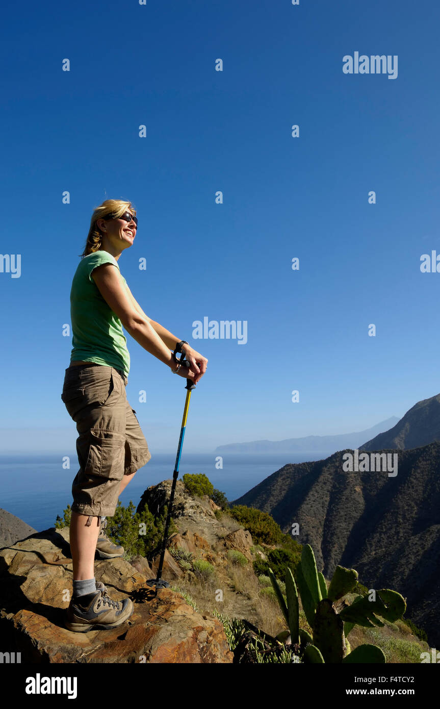 Young woman hiker. La Gomera. Canary Islands. Spain. Europe - Stock Image