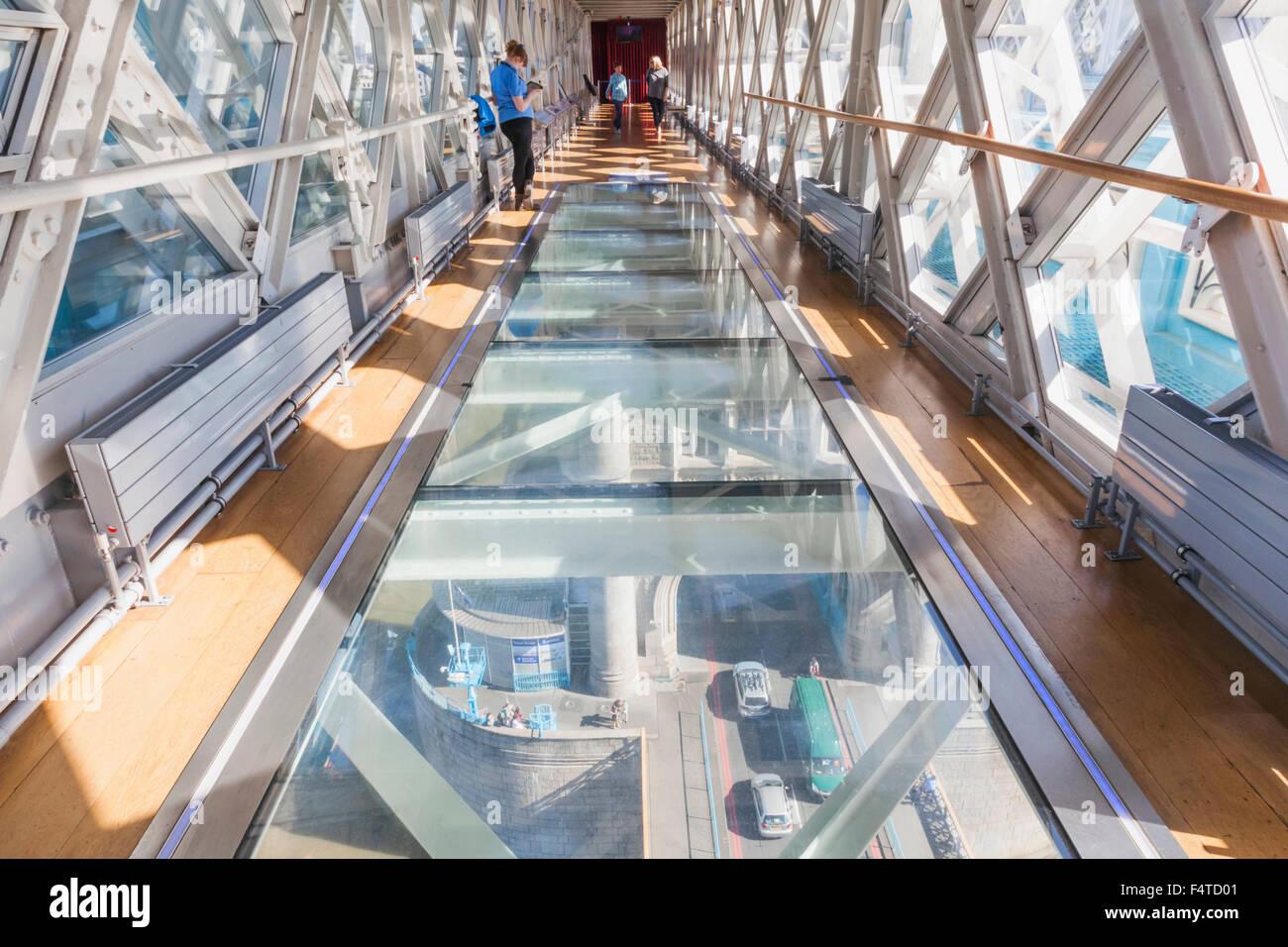 England, London, Tower Bridge, Interior Glass Walkway - Stock Image