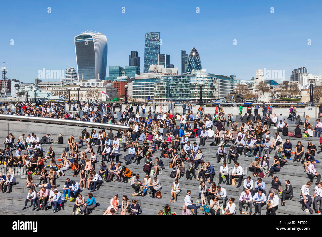 England, London, Office Workers and City, Skyline - Stock Image