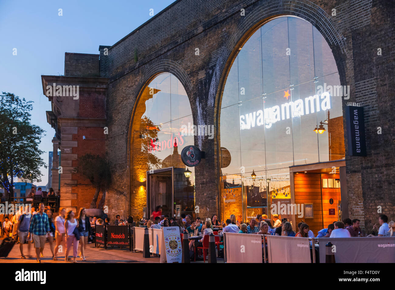 England, London, Southwark, Bankside, Nando's and Wagamama Restaurants - Stock Image