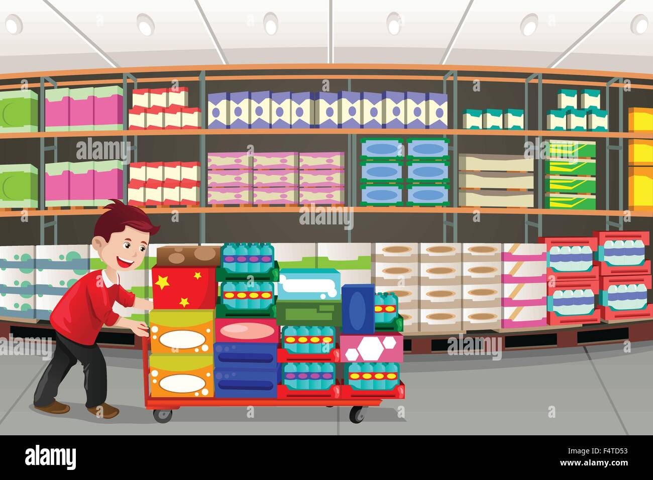 A vector illustration of man shopping in a big box store - Stock Image