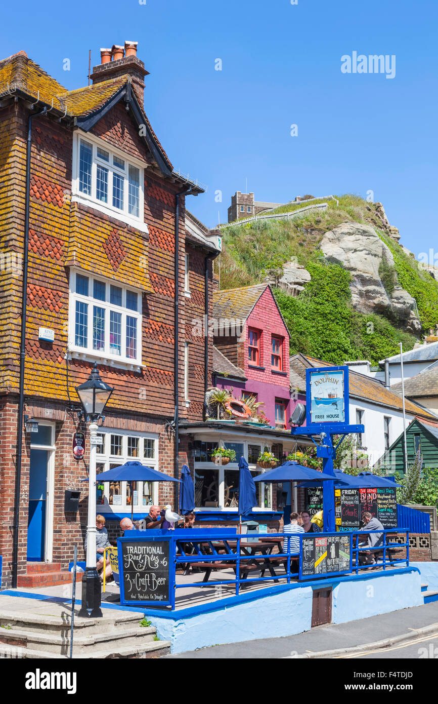 England, East Sussex, Hastings, Old Town, Pub Scene - Stock Image