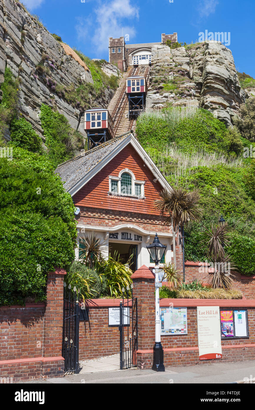 England, East Sussex, Hastings, Old Town, East Hill Lift aka East Cliff Railway - Stock Image