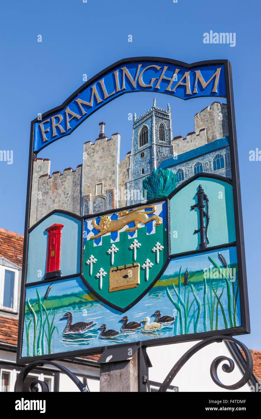 England, Suffolk, Framlingham, Town Sign - Stock Image