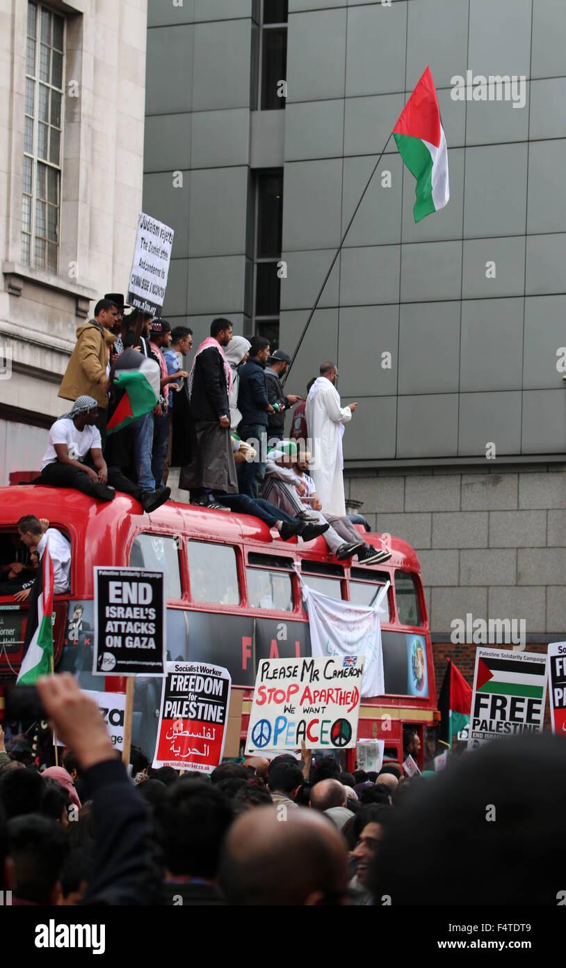 Free Palestine London Anti Jewish Protest - Stock Image