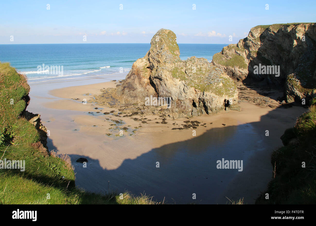 Porth Island Whipsiderry Beach Newquay Cornwall - Stock Image