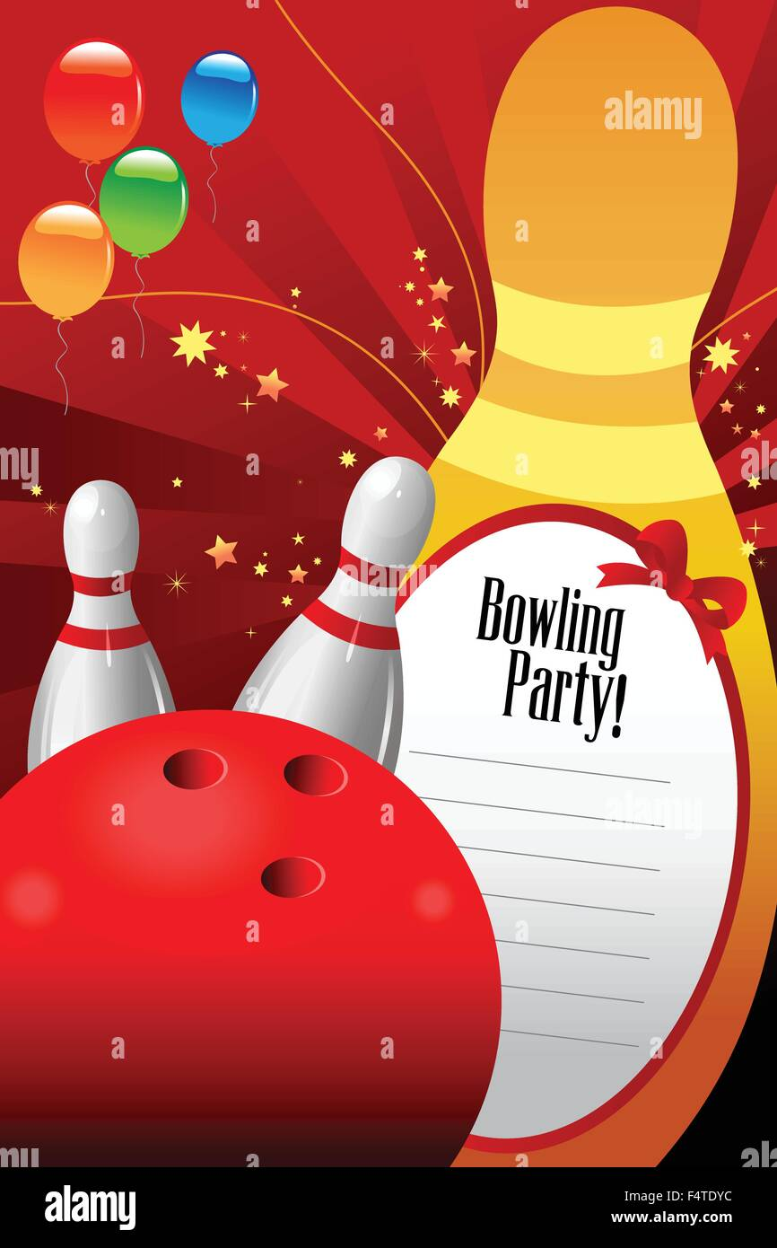 A vector illustration of bowling party invitation template Stock ...