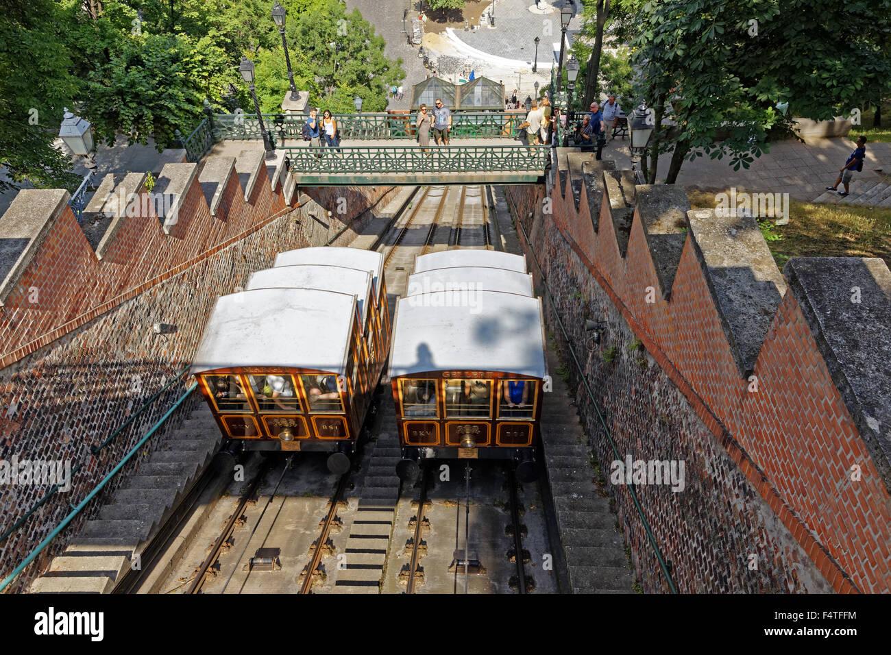 mount Buda, cable railway, valley station, Budavari Siklo Stock Photo