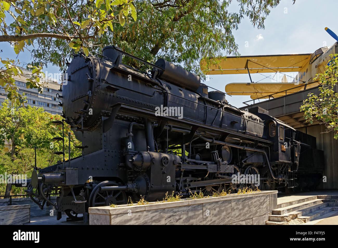 National technical museum, traffic museum, Magyar Muszaki es Közlekedesi Muzeum, steam locomotive - Stock Image