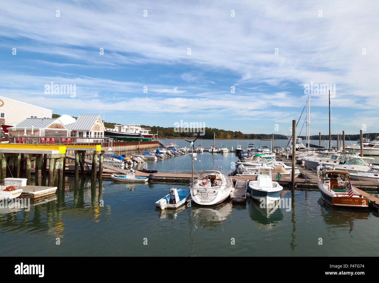 Freeport harbor on the Harraseeket River, Maine coast, USA - Stock Image