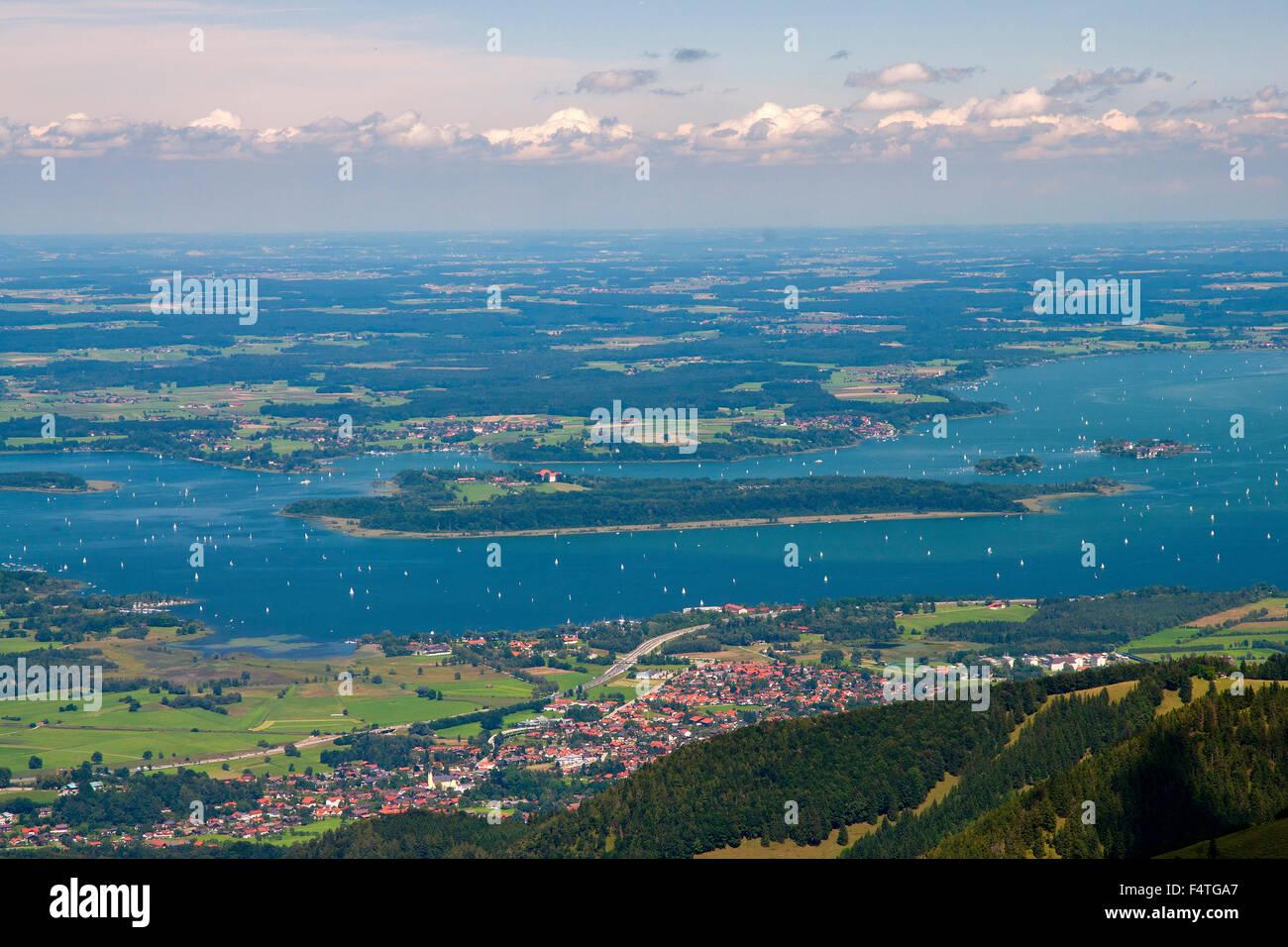 Bavaria, Germany, Upper Bavaria, lake, cloud, clouds, landscape, scenery, Kampenwand, Aschau, Bernau, Chiemsee, - Stock Image
