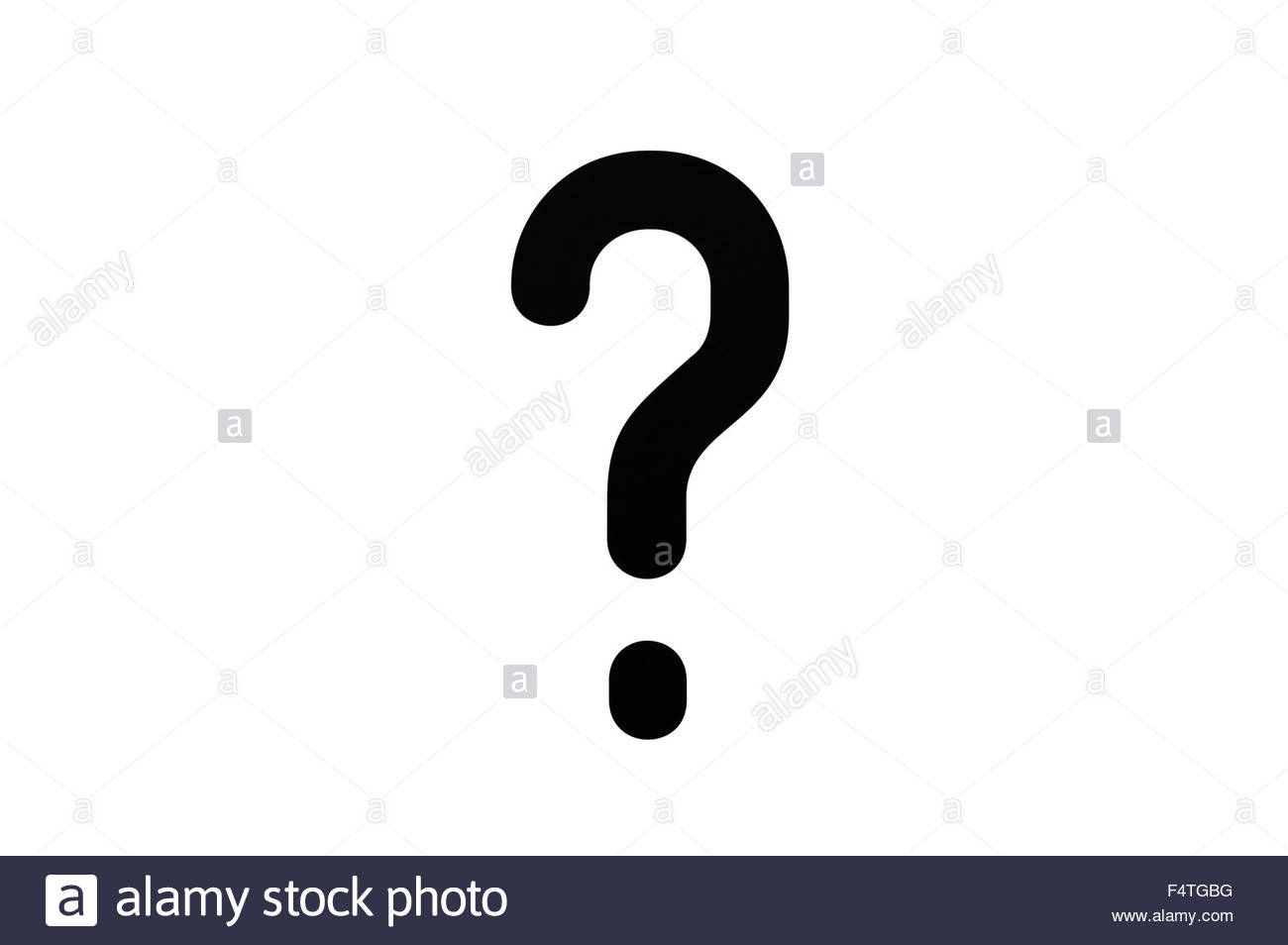 Question mark on white background - Stock Image