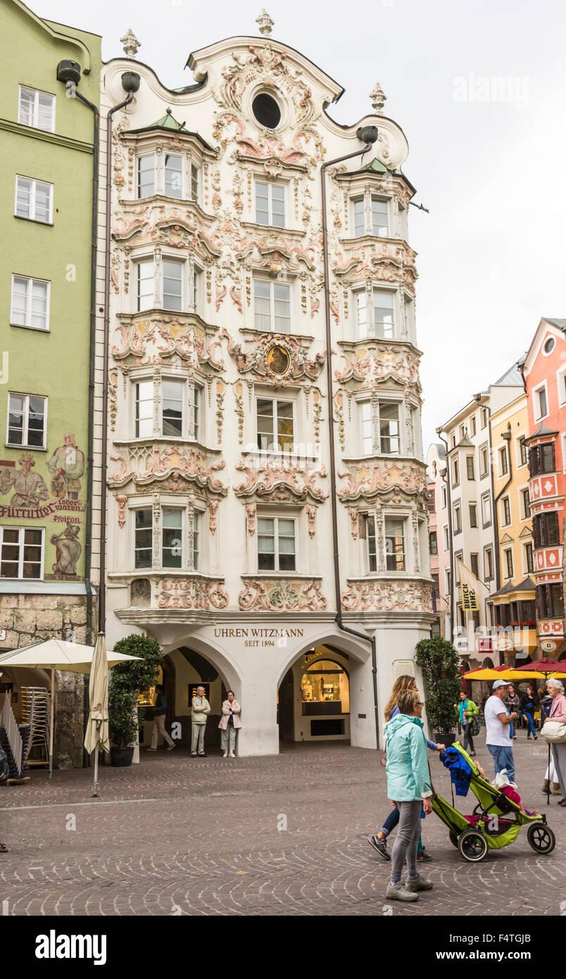INNSBRUCK, AUSTRIA - SEPTEMBER 22: Tourists at the Helbinghaus in Innsbruck, Austria on September 22, 2015. - Stock Image