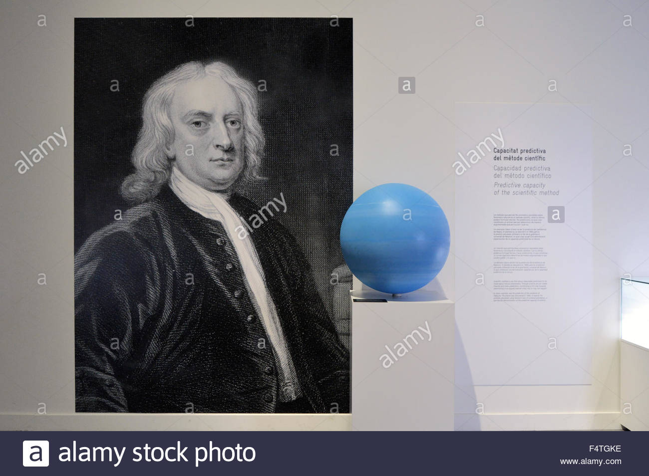 Portrait of Sir Isaac Newton displayed at CosmoCaixa (science) museum in Barcelona Spain Europe - Stock Image