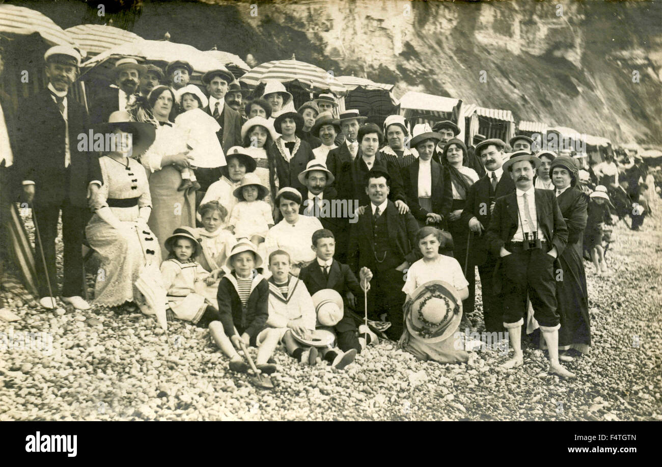 Large group of people on the beach, France - Stock Image