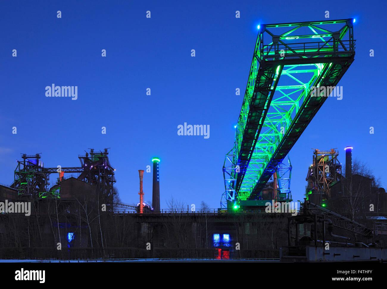 Germany, Europe, North Rhine-Westphalia, Duisburg, Meiderich, route of industrial culture, Emscherpark, lights, - Stock Image