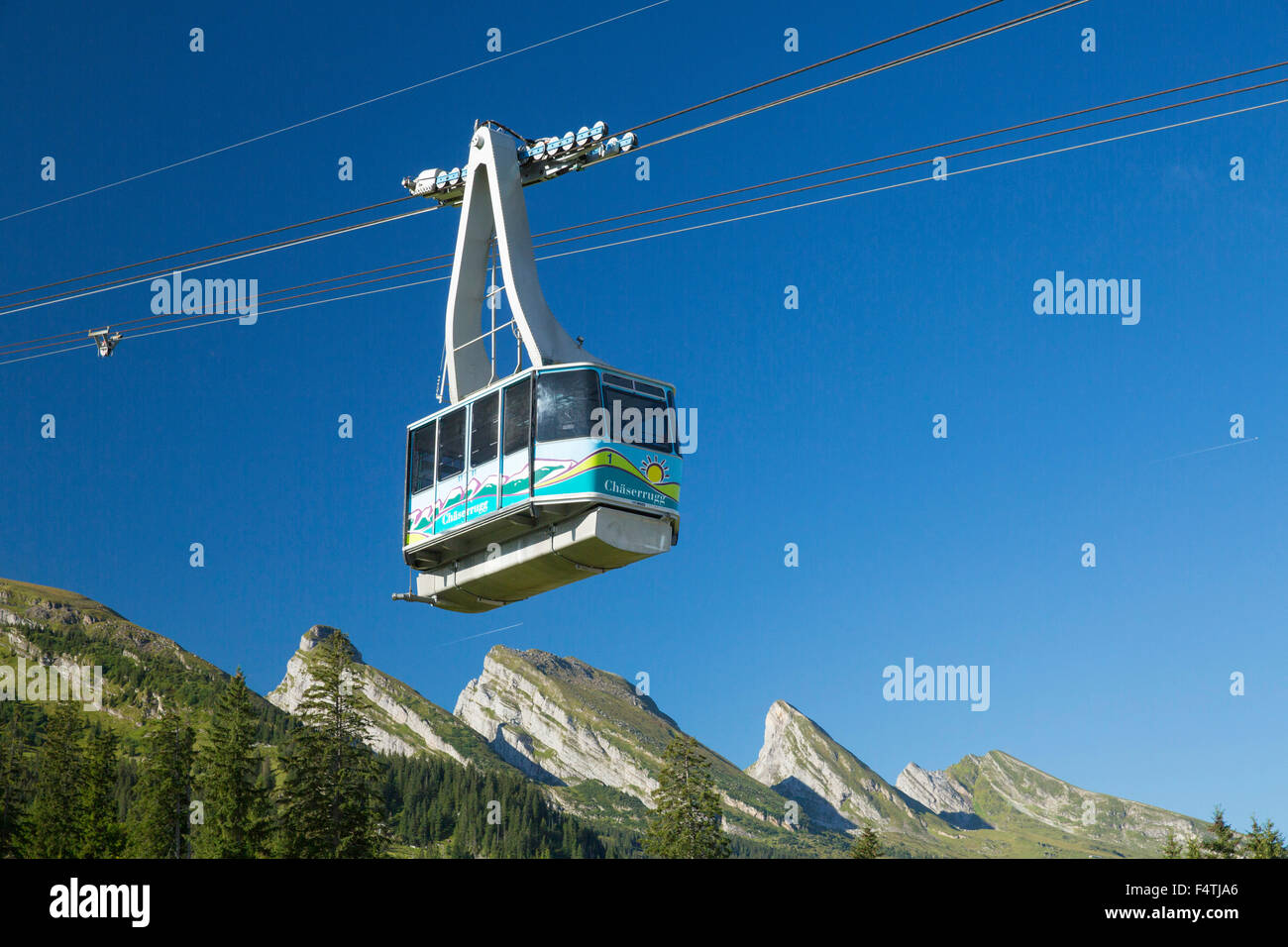 Chäserrugg cable railway, - Stock Image