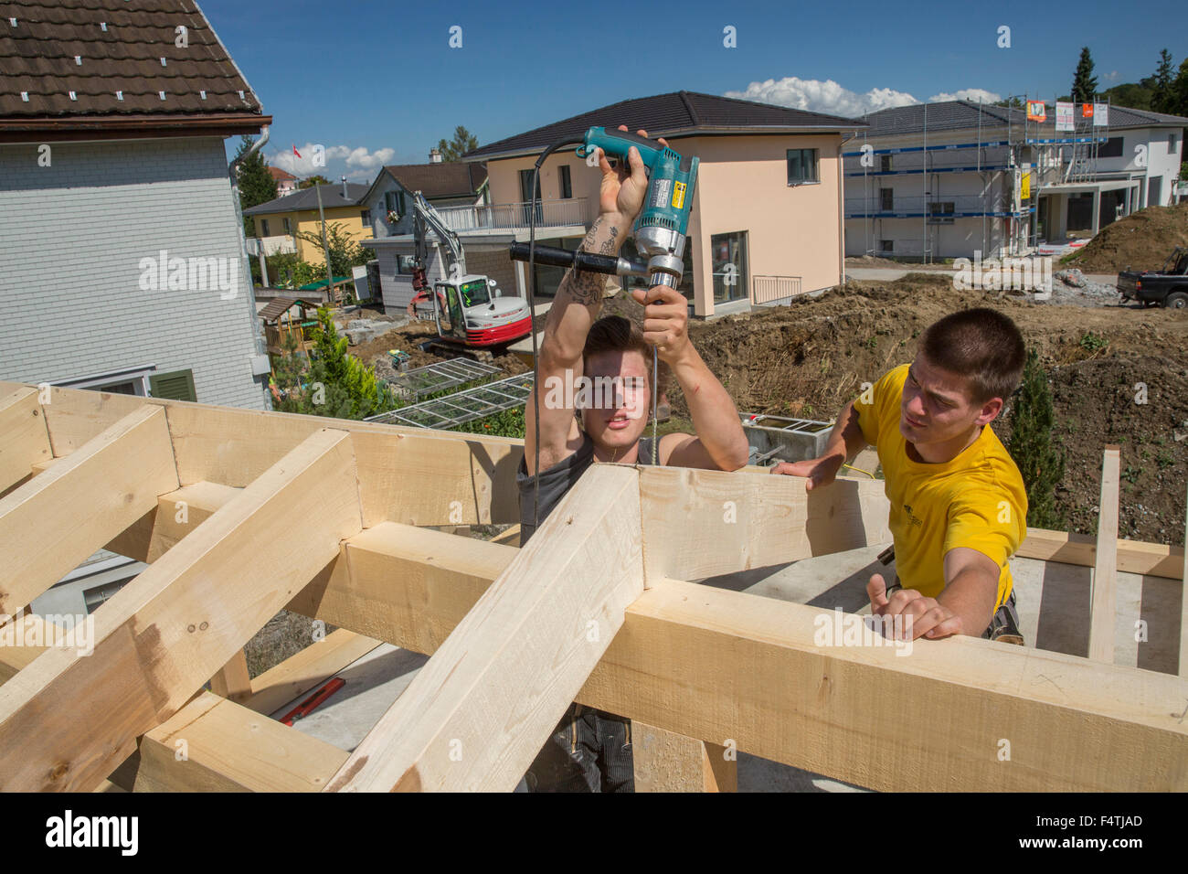 timber-frame construction, wooden building, - Stock Image