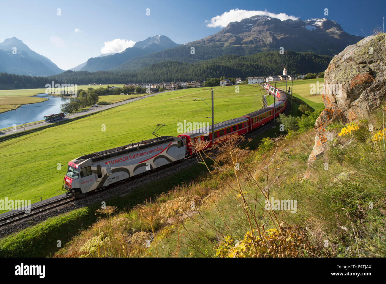 Glacier express, train in Engadin, - Stock Image