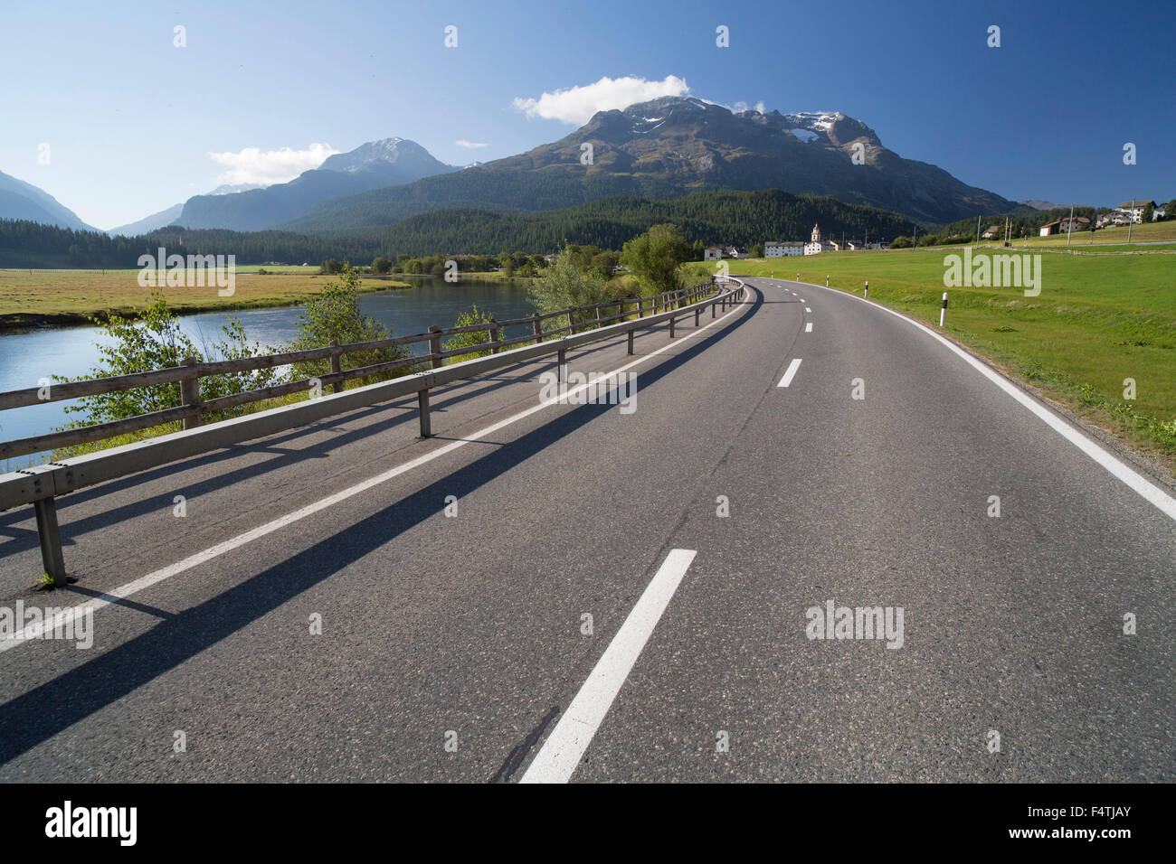 Street in Inn in Engadin, - Stock Image