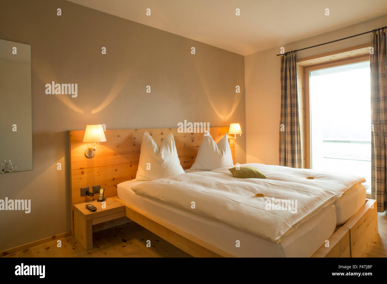 Hotel room on Muottas Muragl, - Stock Image