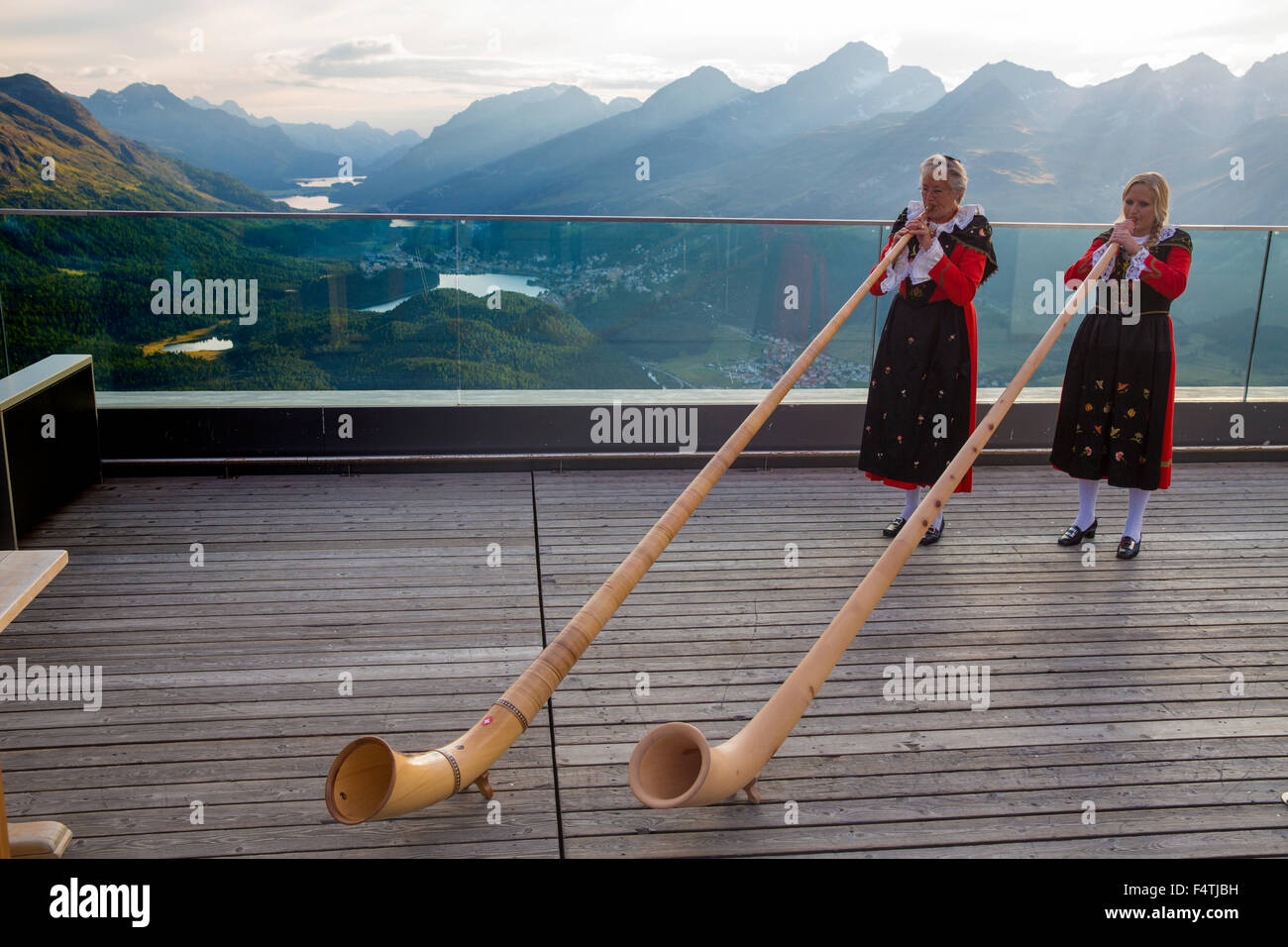 alp horn bubbles on Muottas Muragl in Upper Engadine, - Stock Image