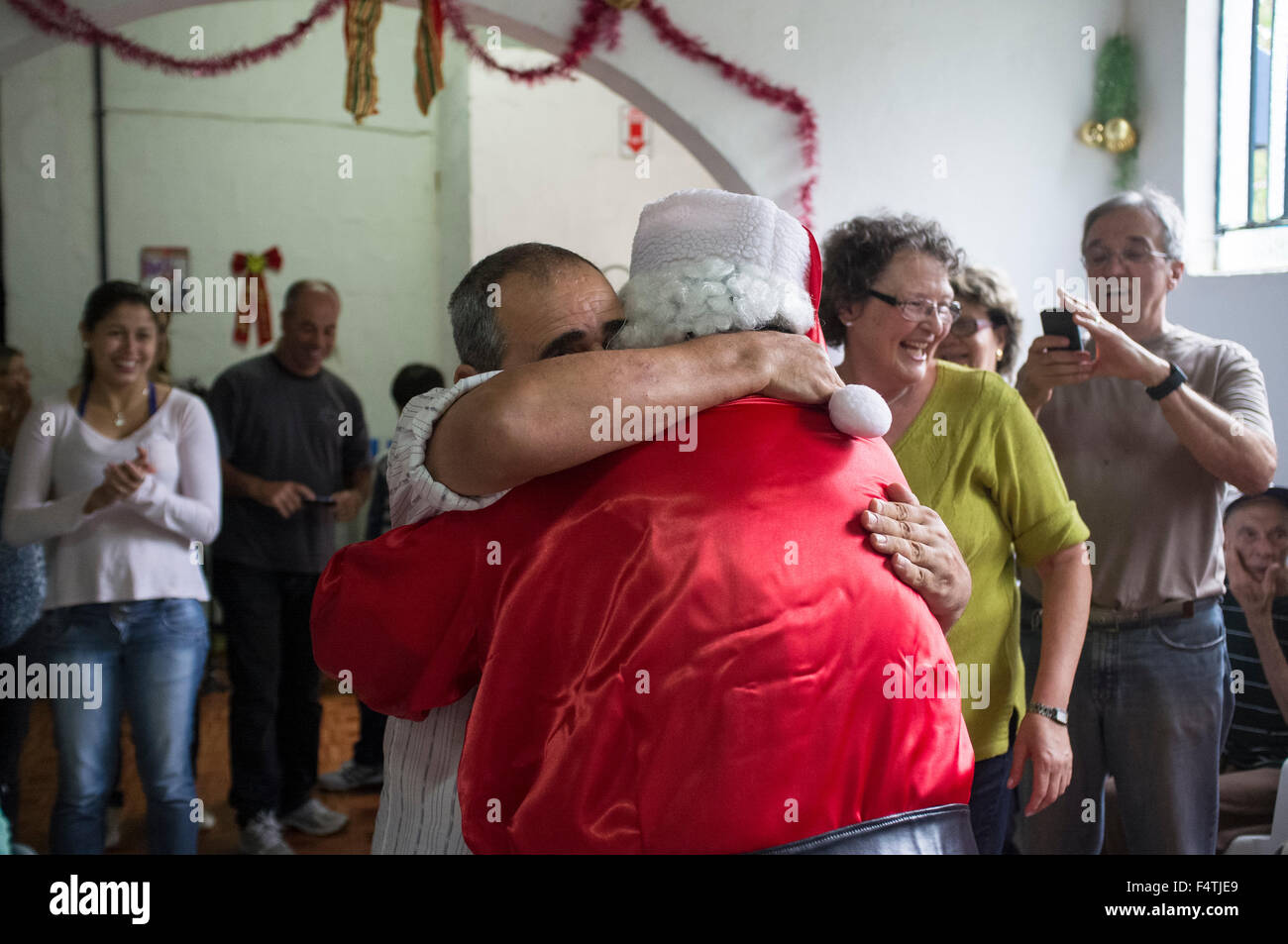 Man Dresses Up As Santa Claus For Visiting Nursing Home And Stock