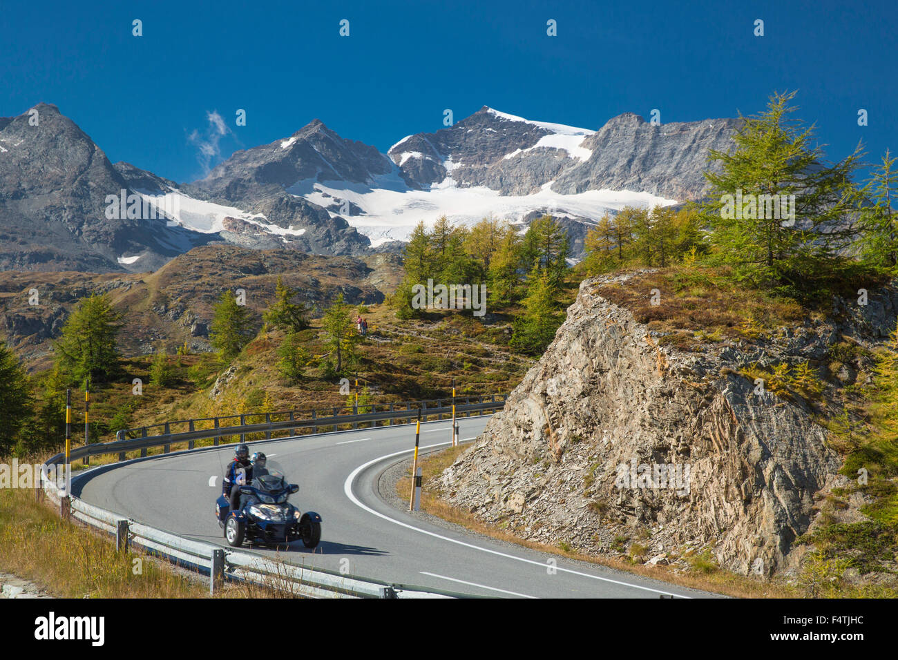 Motorcycle on mountain pass, - Stock Image