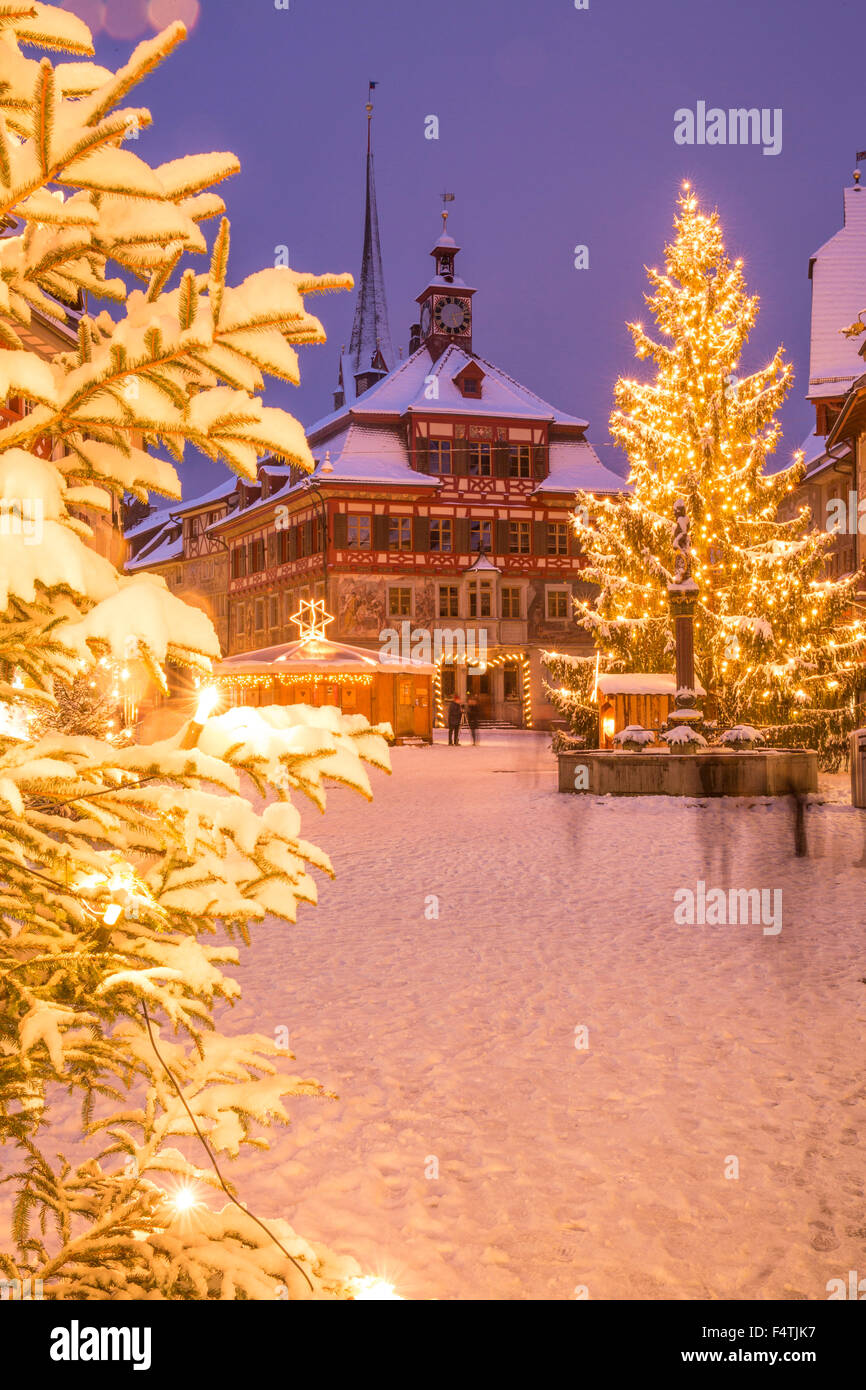 Winter, town, Stein am Rhein, Stock Photo