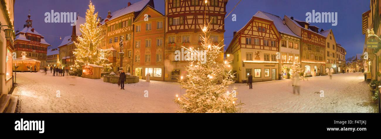 Winter, town, Stein am Rhein, Stock Photo