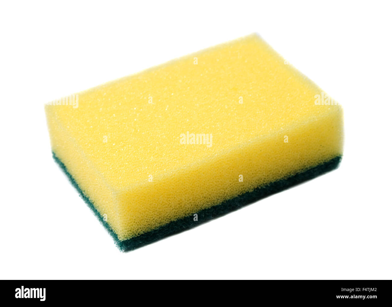 yellow sponge for dish washing on white background - Stock Image