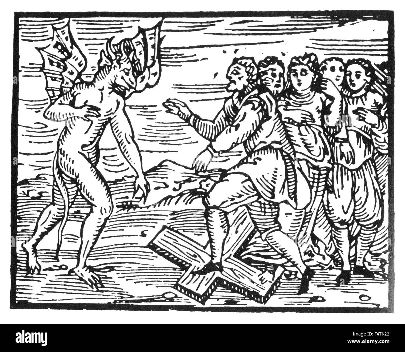 COMPENDIUM MALEFICARUM  Woodcut from the 1608 book on witches by Francesco Guazzo showing people renouncing Christ - Stock Image