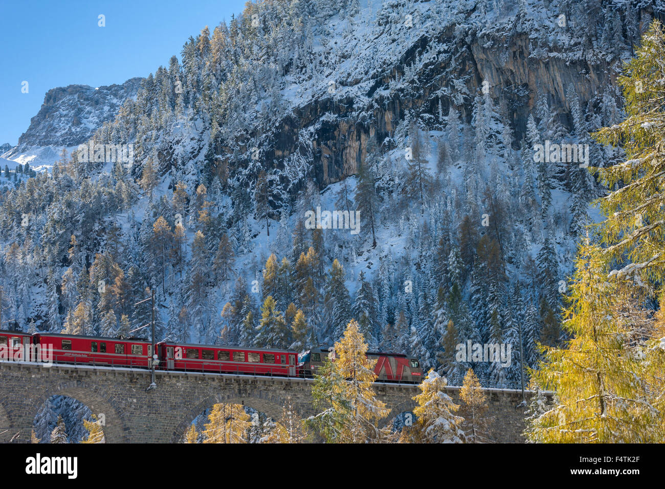 Albula railway, Albula, railroad, train, Switzerland, canton, Graubünden, Grisons, UNESCO, world cultural heritage, - Stock Image