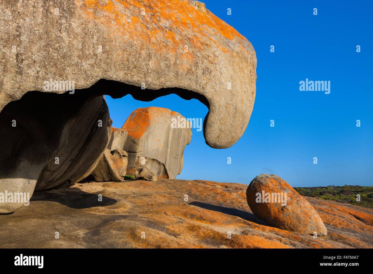 Remarkable rock, Australia, south Australia, Kangaroo Island, Flinders Chase, national park, rock, cliff, lichens Stock Photo